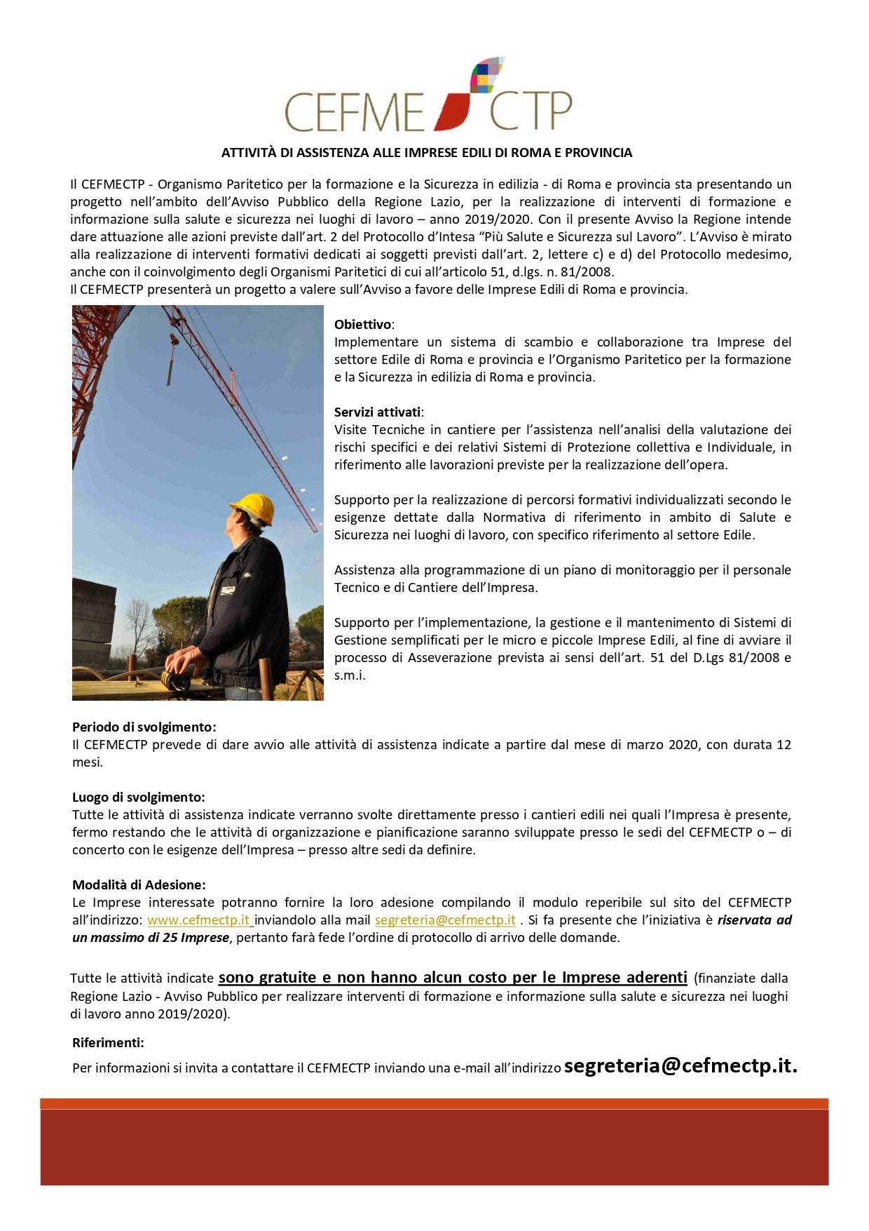 Imprese Di Costruzioni Roma attivita' di assistenza alle imprese edili di roma e